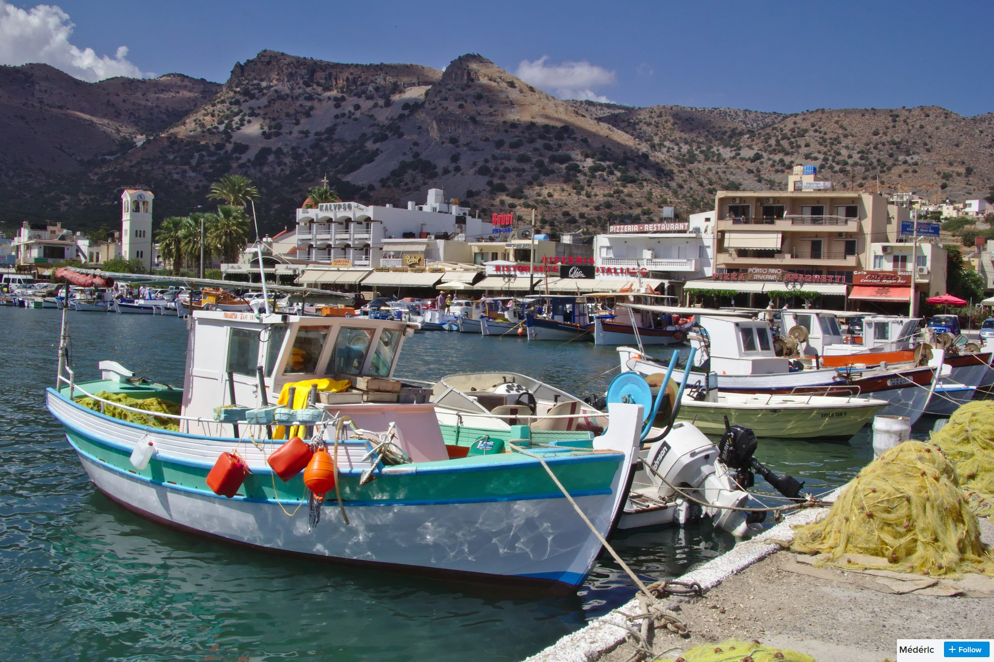 elounda boats in the harbour